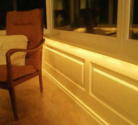 cosnervatory wall panelling with lighting cheshire