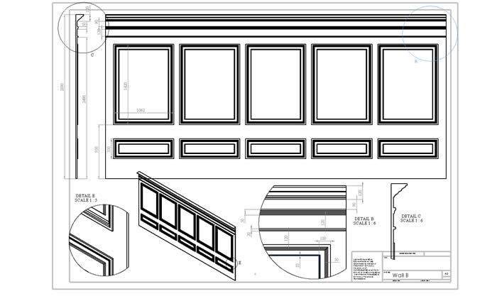 personalised architectural  panelling drawings by the wall panelling experts
