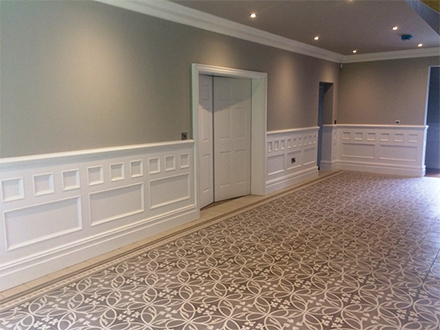 made to order beaded wall panelling for large entrance hall made in Brtain for a home in cheshire