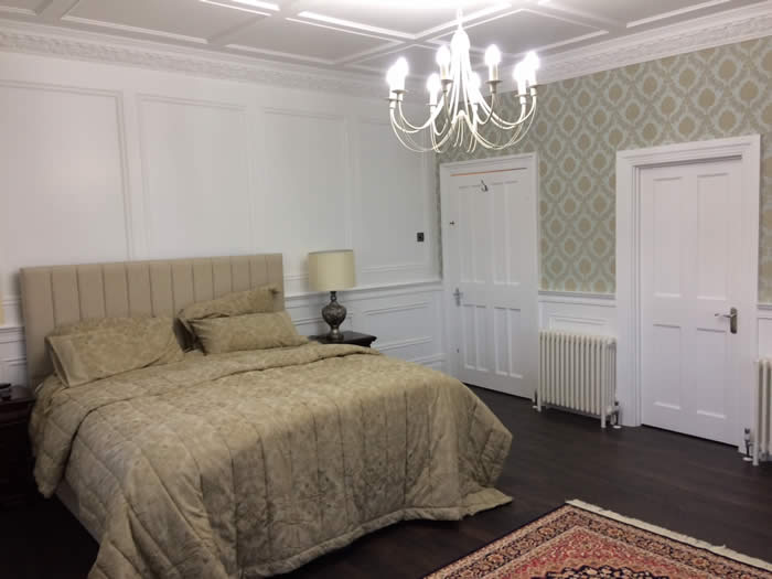 bedroom beaded full height panelling