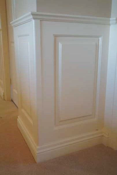 close up ofhigh quality made to order  Georgian Panelling showing external corner by yhe wall panelling  experts