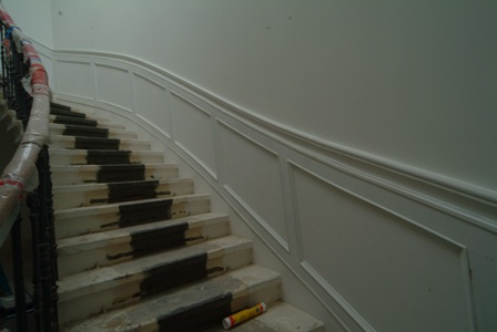 curved staircase wall panelling for colin and justin's main residence in glasgow by wall panelling ltd