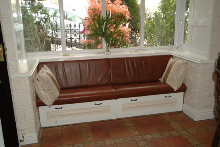 kitchen window seat with panelling