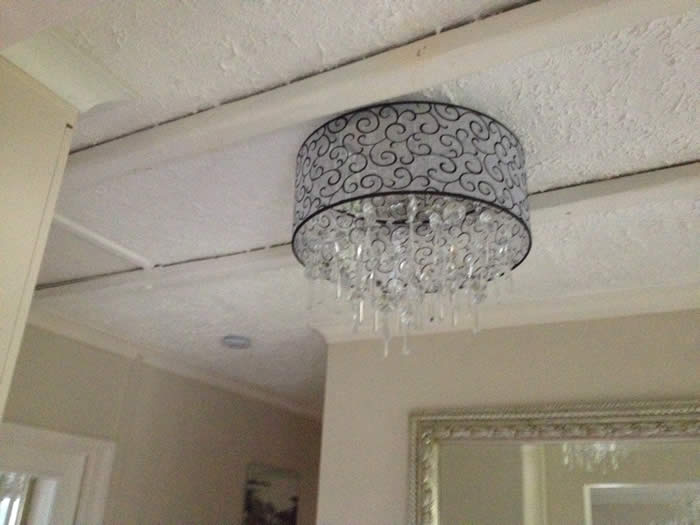 before panelled ceiling makeover