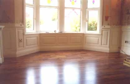 living room wall panelling underneath bay window burnley