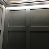 close up of shaker panelling profile with coving with special downlighting effects made in Britain